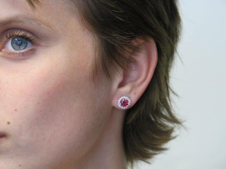 Artisan Pink Tourmaline and 0.37 Carat Diamonds 18 Karat White Gold Earrings For Sale