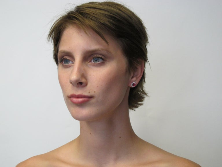 Round Cut Pink Tourmaline and 0.37 Carat Diamonds 18 Karat White Gold Earrings For Sale