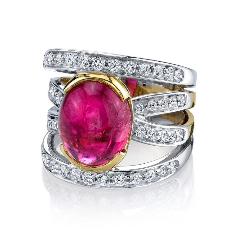 Pink Tourmaline and 0.37 Carat Diamonds 18 Karat White Gold Earrings In New Condition For Sale In Los Angeles, CA