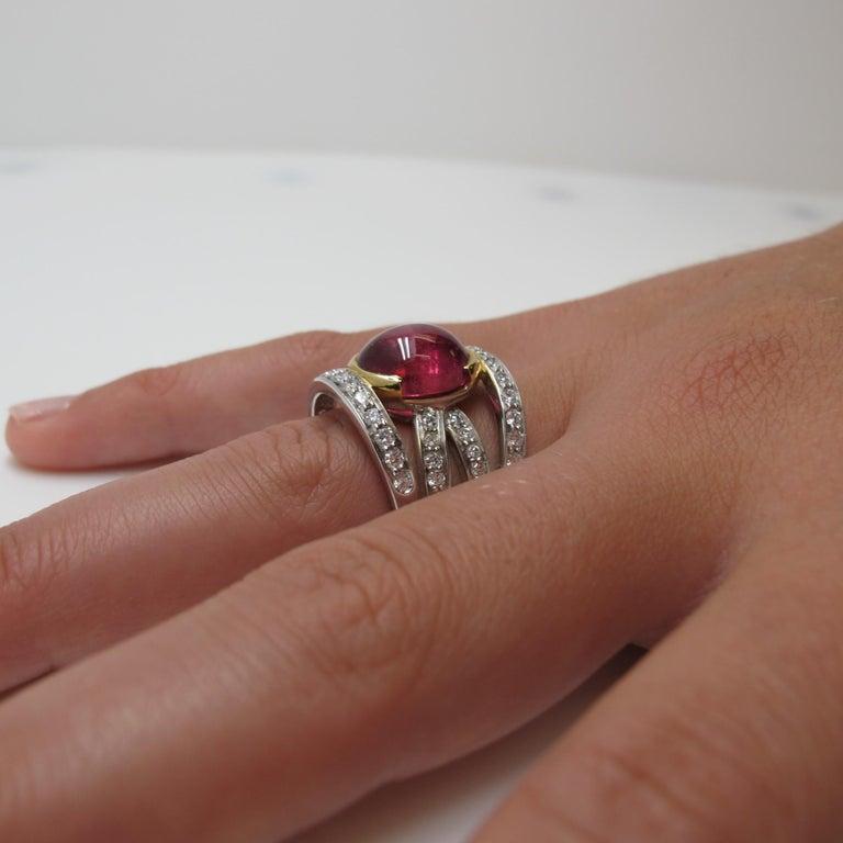 Pink Tourmaline and 0.37 Carat Diamonds 18 Karat White Gold Earrings For Sale 1