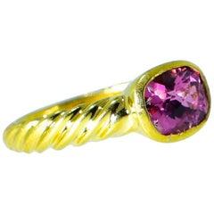 Pink Tourmaline and 18 Karat Ring by David Yurman