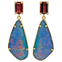 Pink Tourmaline and Australian Boulder Opal 22 Karat Gold Dangle Earrings