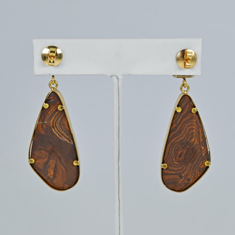 Pink Tourmaline and Australian Boulder Opal 22 Karat Gold Dangle Earrings In New Condition For Sale In Naples, FL