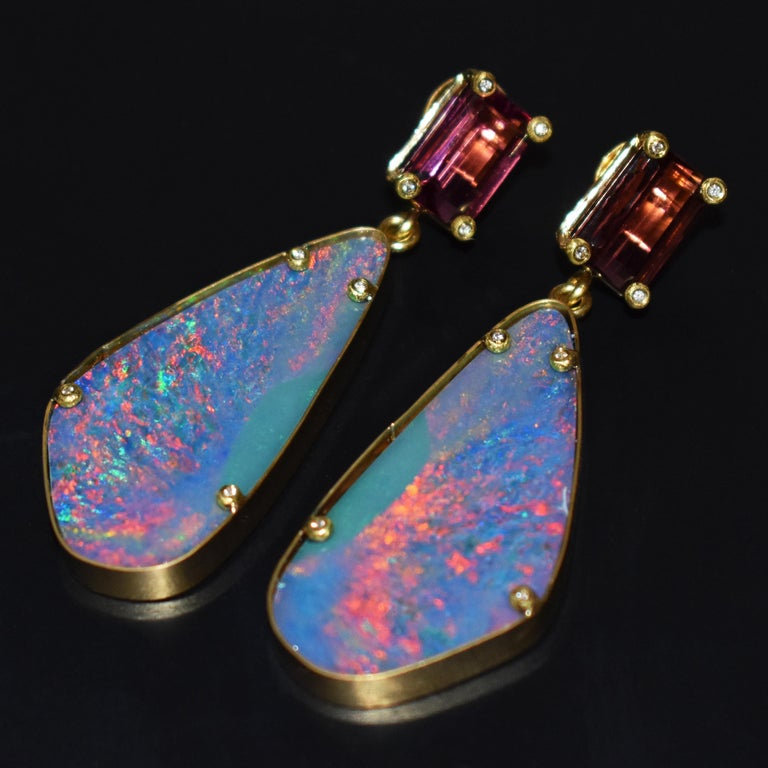 Pink Tourmaline and Australian Boulder Opal 22 Karat Gold Dangle Earrings For Sale 1