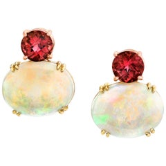 Pink Tourmaline & Australian Opal 18k Yellow and Rose Gold French Clip Earrings