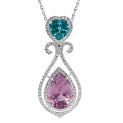 Pink Tourmaline and Blue Zircon Pendant Set in 18K