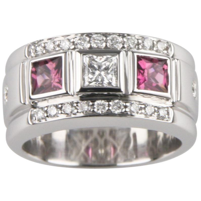 Pink Tourmaline and Diamond 18 Karat White Gold Band Ring