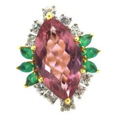 Pink Tourmaline and Diamond 18 Karat Yellow Gold Cocktail Ring