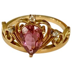Pink Tourmaline and Diamond 18 Karat Yellow Gold Ring - Size 6 1/2