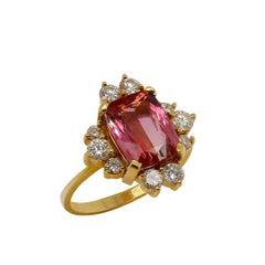 Pink Tourmaline and Diamond 18K Yellow Gold Ring