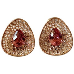 18 K Pink Tourmaline and Diamond Clip-On Earrings