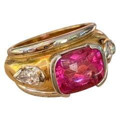 Pink Tourmaline and Diamond Cushion Cut 18 Karat White and Yellow Gold Ring