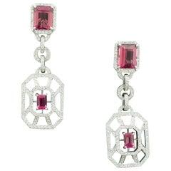 Pink Tourmaline and Diamond Dangling Earrings in 18 Karat White Gold