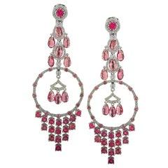 Pink Tourmaline and Diamond Dream Catcher Dangle Earrings