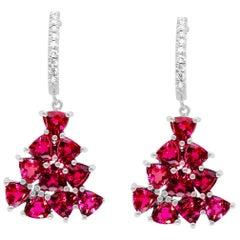 Pink Tourmaline and Diamond Drop Earrings