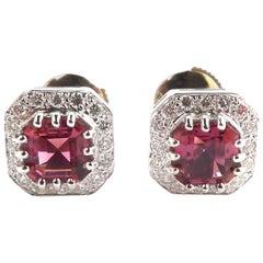 Pink Tourmaline and Diamond Ear Stud Mounted in 18 Karat Gold