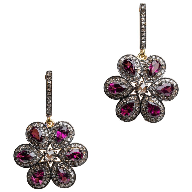Pink Tourmaline and Diamond Flower Petal Dangle Drop Earrings