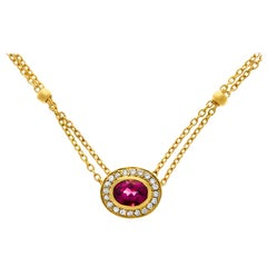 Pink Tourmaline and Diamond Necklace
