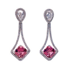Pink Tourmaline and Diamond Platinum Earrings