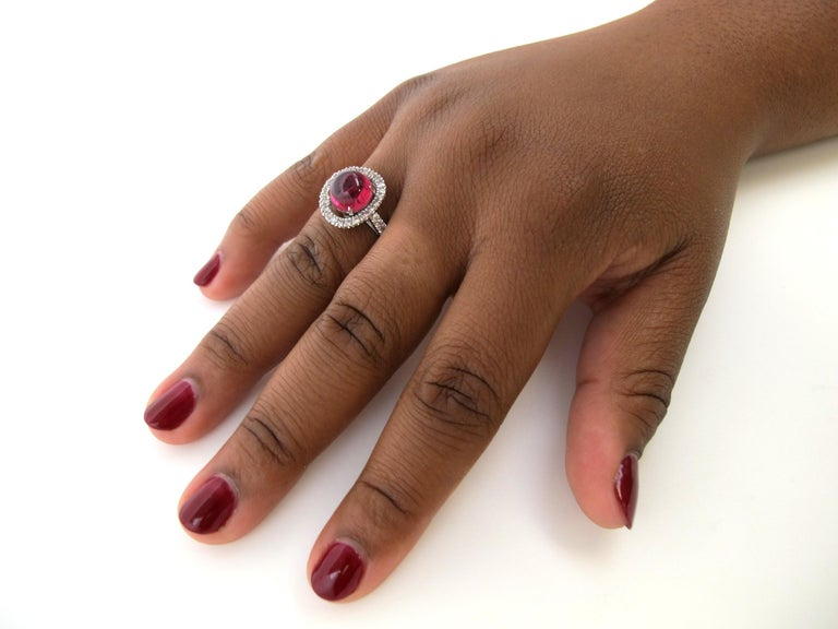 Artisan 2.40 Carat Pink Tourmaline Cabochon and Diamond 18k White Gold Ring For Sale