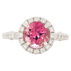Pink Tourmaline and Diamond Ring, White Gold 2 Carat Diamond and Gem Engagement