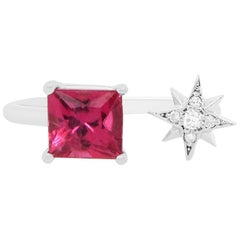 Pink Tourmaline and Diamond Star Toi et Moi Ring