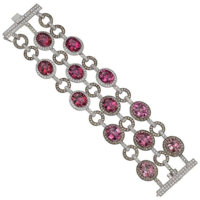 Pink Tourmaline and Multicolored Diamond Bracelet