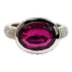 Pink Tourmaline and Pave Diamond Ring