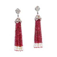 Pink Tourmaline and Pearl Tassel Earring in Gold and Silver with Diamonds