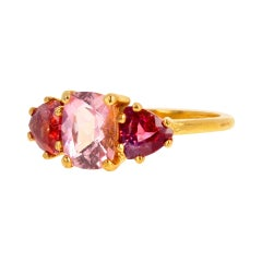 Gemjunky Exotic Three Stone Pink Tourmaline & Red Spinel 14 Kt Yellow Gold Ring