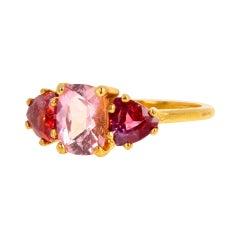 Pink Tourmaline and Red Spinel 14 Karat Yellow Gold Ring