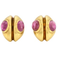 Pink Tourmaline as Eye on 18 Karat Gold Earrings