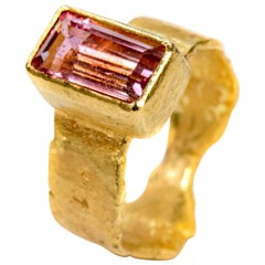 Pink Tourmaline Baguette Wide Gold Ring