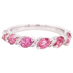 Pink Tourmaline Band with Diamonds in White Gold, Stackable, Pink and Diamond