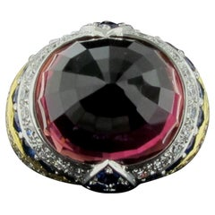 Pink Tourmaline, Blue Sapphire and Diamond Ring in Yellow Gold and Platinum