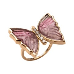 Pink Tourmaline Butterfly Ring with Diamonds, Crafted in 14 Karat Yellow Gold
