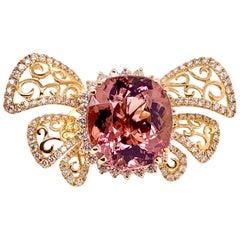 Pink Tourmaline Butterfly Style Diamond Ring