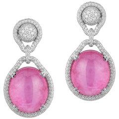 Goshwara Pink Tourmaline Cabochon And Diamond Earrings