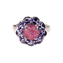 Pink Tourmaline Cabochon in Tanzanite Halo Sterling Silver Ring