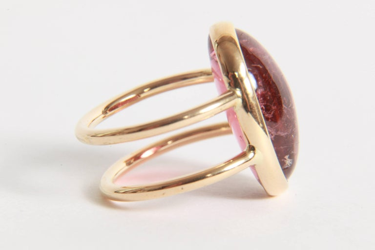 Contemporary Pink Tourmaline Cabochon Ring Created by Marion Jeantet For Sale