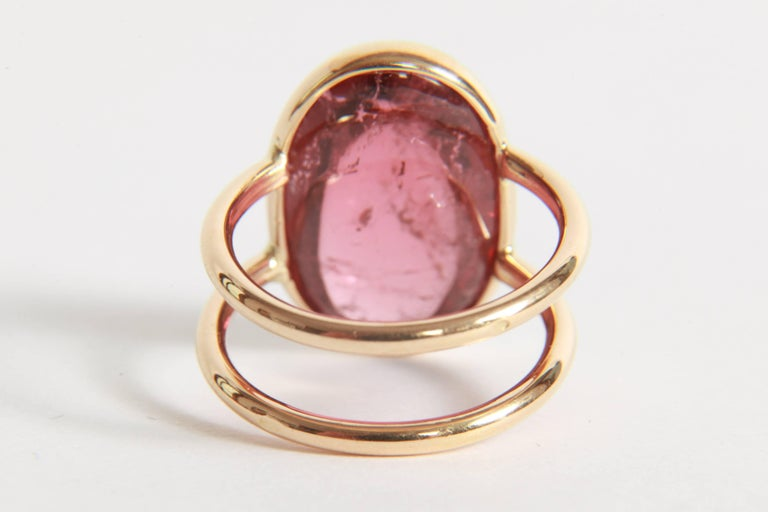 Pink Tourmaline Cabochon Ring Created by Marion Jeantet In As New Condition For Sale In Paris, FR