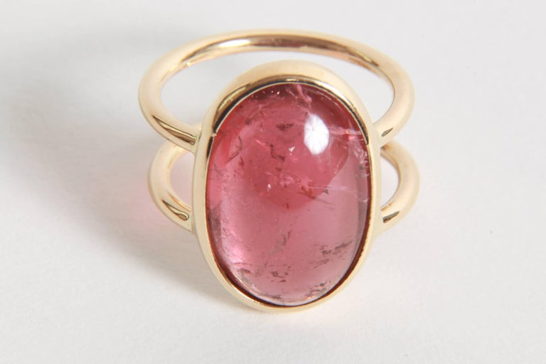 Women's or Men's Pink Tourmaline Cabochon Ring Created by Marion Jeantet For Sale