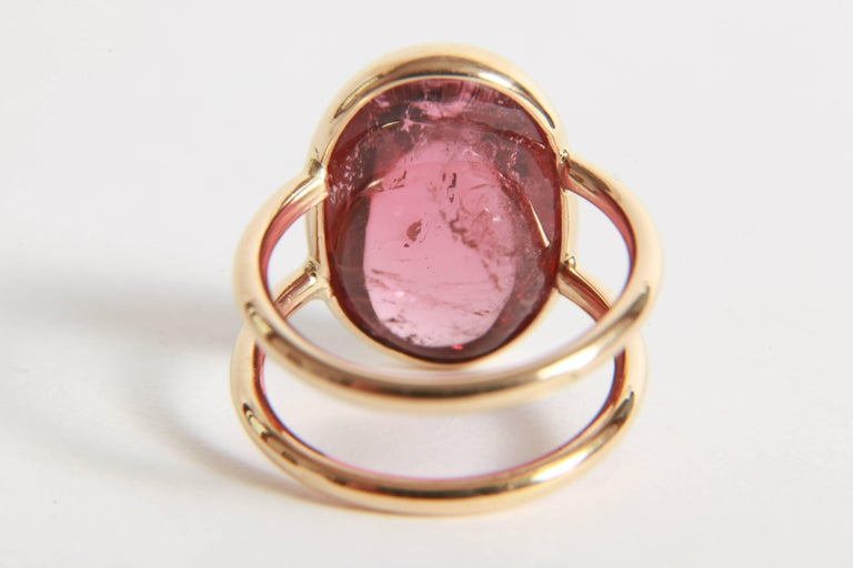Pink Tourmaline Cabochon Ring Created by Marion Jeantet For Sale 1