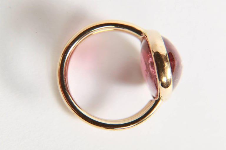 Pink Tourmaline Cabochon Ring Created by Marion Jeantet For Sale 2