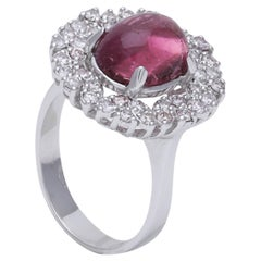 Pink Tourmaline Cabochon Ring with Diamonds Set in 18 Karat White Gold