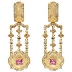 Pink Tourmaline Champagne Diamonds 18 Karat Yellow Gold Tweed Earrings