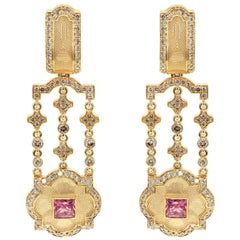 Pink Tourmaline Champagne Diamonds 18 Karat Yellow Gold Tweed Earrings