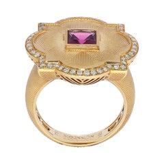 Pink Tourmaline Champagne Diamonds 18 Karat Yellow Gold Tweed Ring