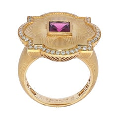 Pink Tourmaline Champagne Diamonds 18 Karat Yellow Gold Tweed Ring