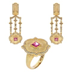 Pink Tourmaline Champagne Diamonds 18 Karat Yellow Gold Tweed Suite